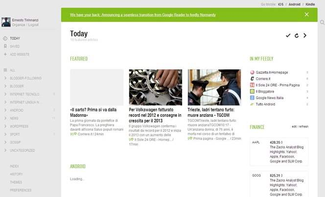 feedly-interfaccia