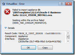 OracleAppsnFusion: Error while importing EBS 12 2 4 VM