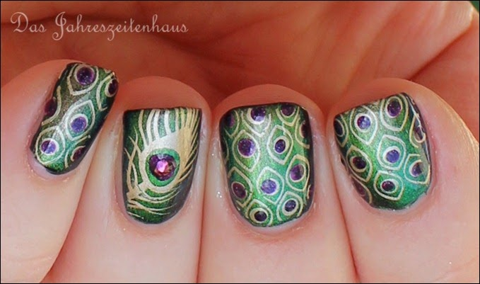 Peacock Nails Stamping Pfauenfeder 4