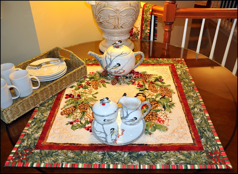 Sewing group with Chickadee quilt & tea set 024