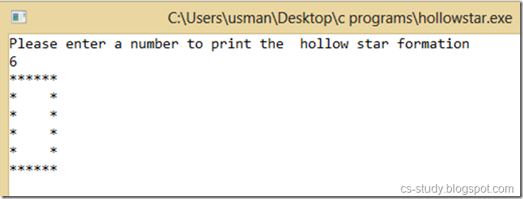 C program to print the hollow stars square ~ Easy Learning