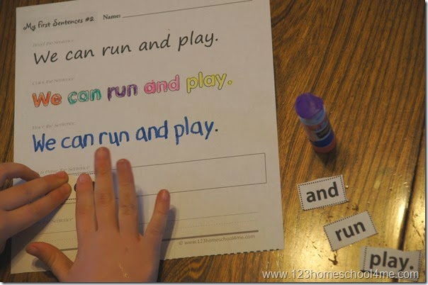 Sentence Building Worksheets - Fun practice for kids using Pre-Primer Sight Words for Preschool and Kindergarten