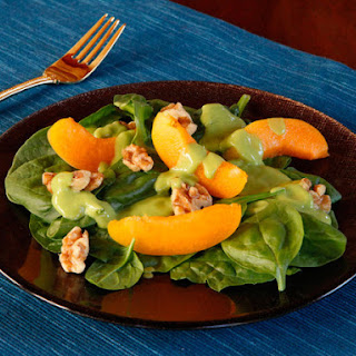 Apricot Spinach Salad with Avocado Basil Dressing.