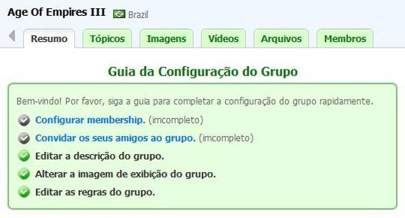 Guia de configuração do grupo.