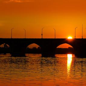 Orange Sunrise Bridge by RomanDA Photography - Landscapes Sunsets & Sunrises ( water, 2014, boats, baltimore, reflections, bridge, sunrise, spring )