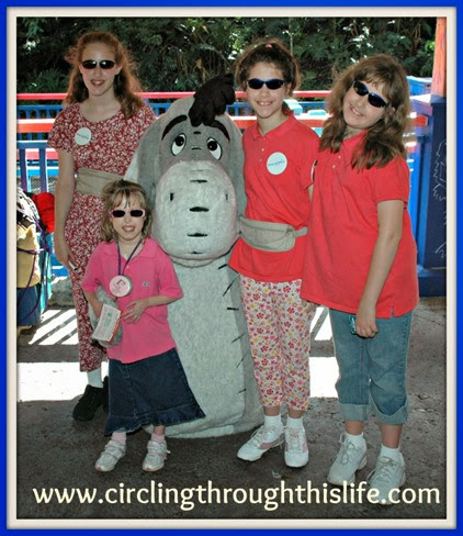 The Girls meet Eeyore at Disney World