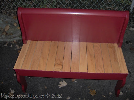 Beautiful sleigh bed foot board bench
