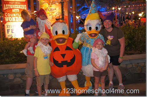 Donald Duck in Costume at Halloween party