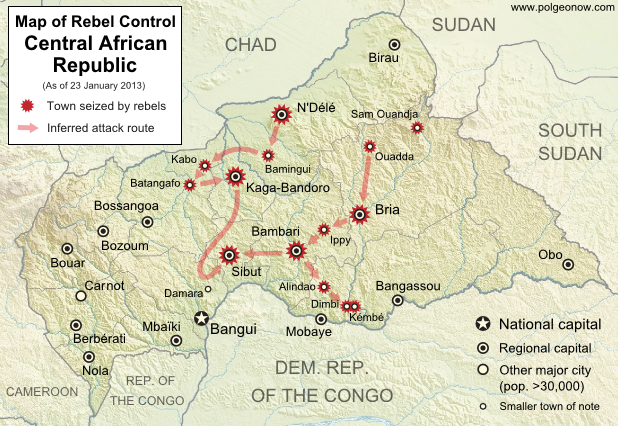 Map of rebel control in the Central African Republic, updated for the reported occupation of Dimbi and Kembe towns after the January 2013 ceasefire