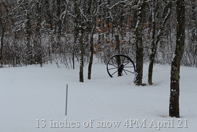 13 inches of snow April 21