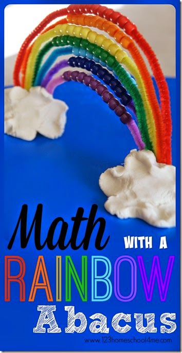 Math with a Rainbow Abacus - a fun counting by 1s and 10s activity for Toddler Preschool Kindergarten and 1st Grade