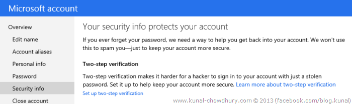 1. Set up Microsoft two-step verification