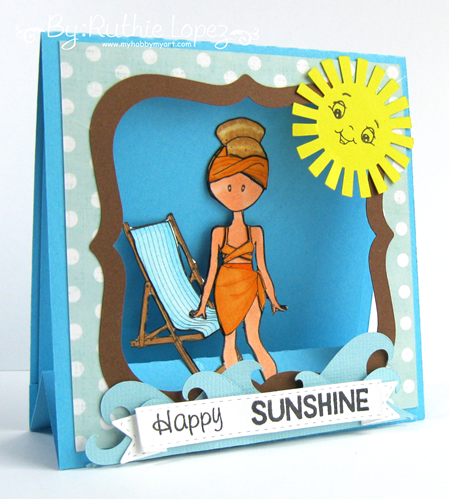 Flat Friends Boutique. Beach day. 613 Avenue Create. Window easel card. Ruthie Lopez. My Hobby My Art 4