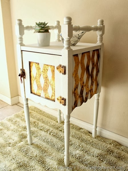 DIY Chevron Painted Table via homework  | carolynshomework.com