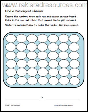 Make Connect 4 more educational by labeling each checker with a number and using them to create numbers.  Free printable sheet from Raki's Rad Resources.