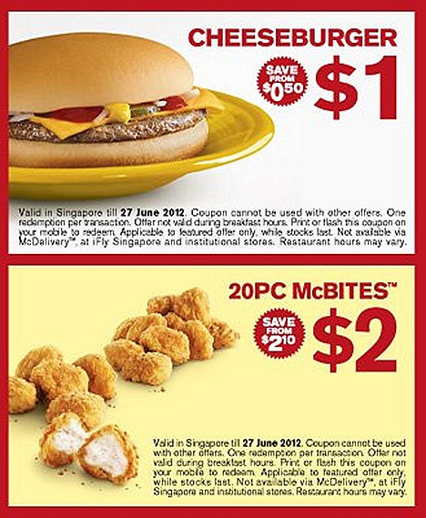 MCDONALDS OFFER CHEESE BURGER $1 CHICKEN MCBITES 20 PC $2  SAUSAGE MCMUFFIN WITH EGG & COFFEE $3  PROMOTION DEAL FOR GREAT SINGAPORE SALE except iFLY schools and mcdelivery