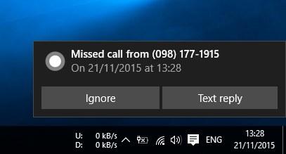 Thông báo cuộc gọi nhỡ của Cortana trên Windows 10