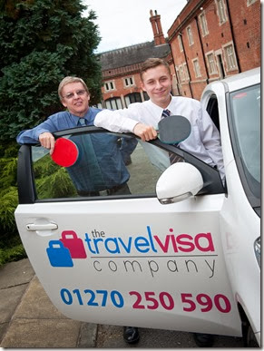 Crewe & District Table Tennis League finance manager John Dawson and The Travel Visa Company's Dan Taylor