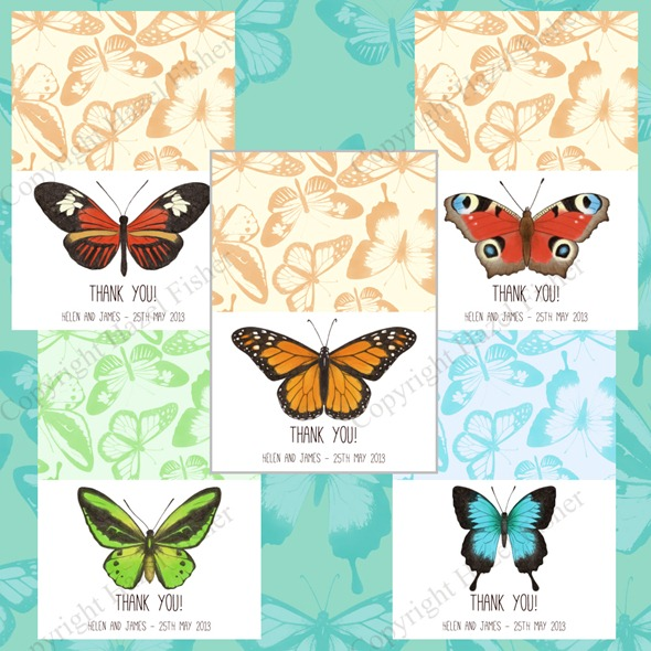 butterflies printable wedding stationery set 3