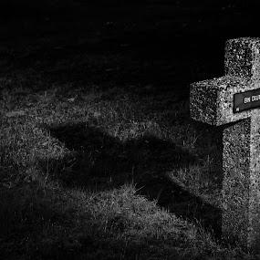 Unknown soldier by Gerd Moors - Black & White Objects & Still Life ( world war ii, tombstone, lightpaiting, soldier, black and white, shadow, light, war, cross,  )