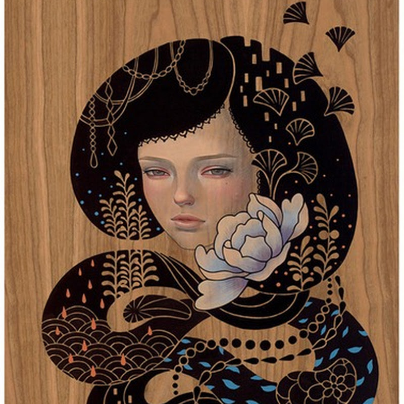 Audrey Kawasaki paintings of women on wood with a consistent, distinctive style.