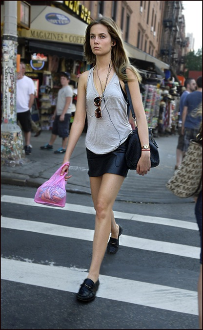 w black leather skirt grey tank top black loafers long blond hair  ol