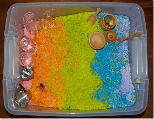 Rainbow Sensory Tub (Photo from Homeschool Mo)