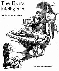 Illustration accompanying the original publication in Argosy magazine of short story The Extra Intelligence by Murray Leinster. Image shows a man and a woman trying to revive the recently dead mad scientists who hoped to be super smart on revival.