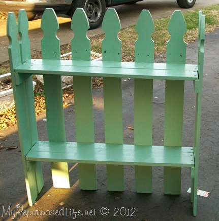 reclaimed picket fence shelf