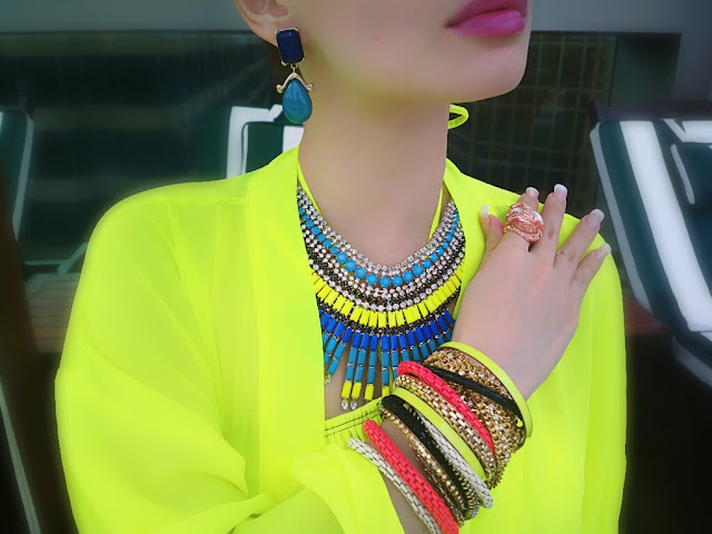 Neon & Blue Forever New Statement Neckpiece, Fashion Ring,Aldo Bracelets