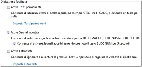 Windows 7 Attiva segnali acustici