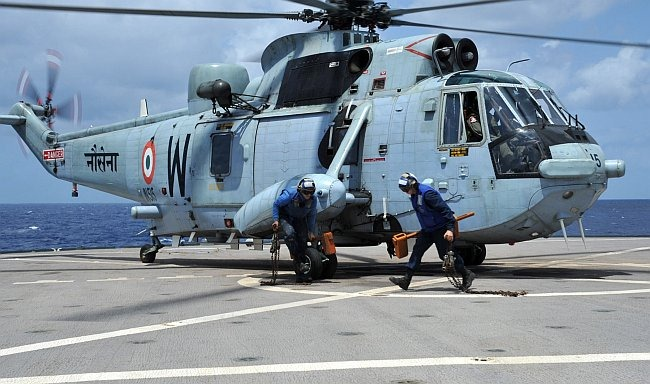 Indian Navy Sea King Helicopter aboard USS Stethem
