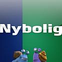 """Ny bolig?"" med Nybolig logo"