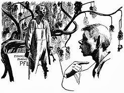 Illustration by Schoenherr accompanying the original publication in Analog magazine of short story The Servant Problem by Robert F Young. Image shows the puzzled village idiot looking at his statue not know why he is a celebrity.