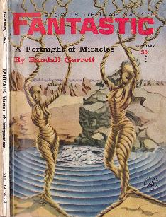 Cover by Heidi Coquette of Fantastic Stories of Imagination magazine, February 1965 issue, illustrating the story A Fortnight of Miracles by Randall Garrett