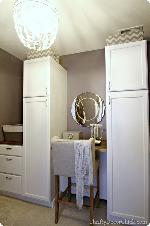 closet system with kitchen cabinets