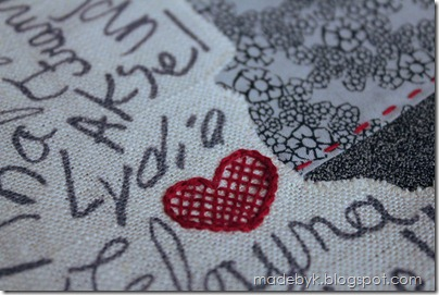 BagK heart embroidery closeup