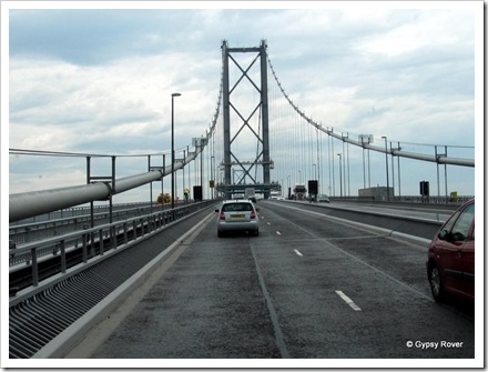 Heading across the Firth of Forth Road Bridge.