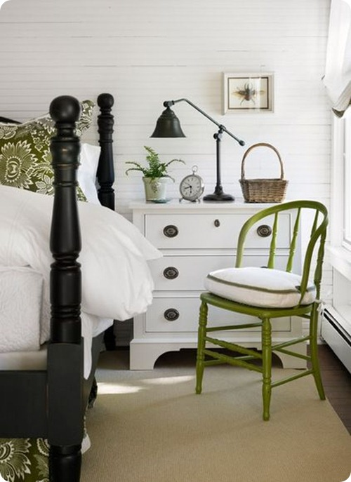 white walls, black and green accents