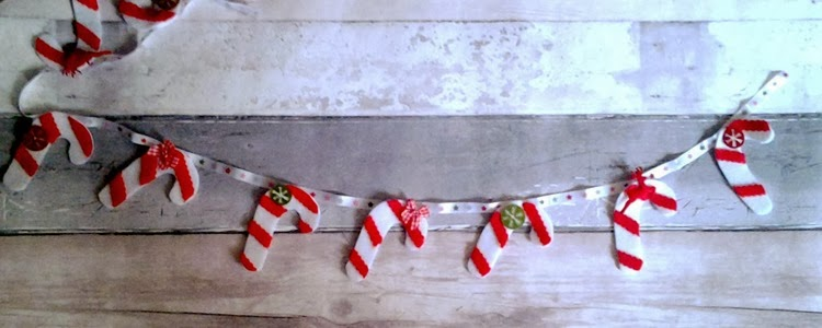 DIY candy canes sewn on to ribbon
