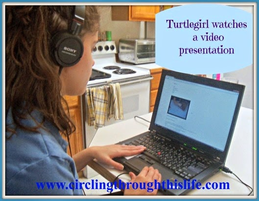 Turtlegirl watches a video presentation e-Science Review