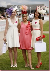 no fee-The 3 finalists , Philippa Forde from England,Aine Deschenes from Sallins and Martha Lynn from Roscommon at the Curragh Racecourse for today's (Saturday, 27th June) Kildare Village Most Stylish Hat Competition at the Derby.  Winner Aine wins a shopping spree at Kildare Village worth €2,000.  Aine's hat was created by Niamh Irwin and her dress is by Frank and Jane-photo Kieran Harnett