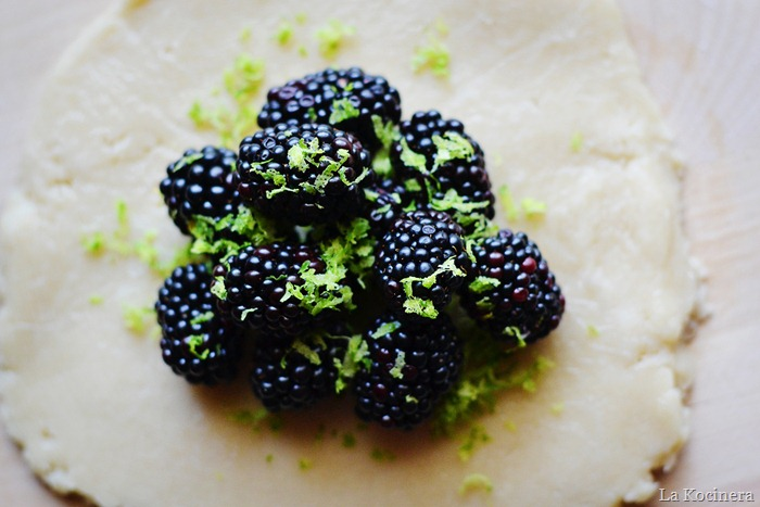 lime zest on blackberries