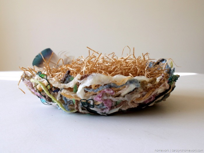Yarn Scrap Paper Mache Nest via homework - carolynshomework (9)