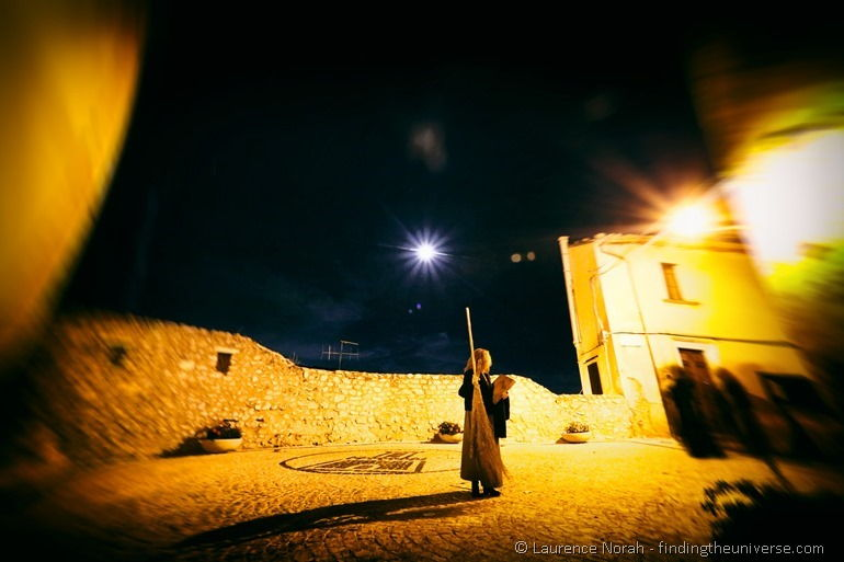Witch in square night of witches Italy abruzzo