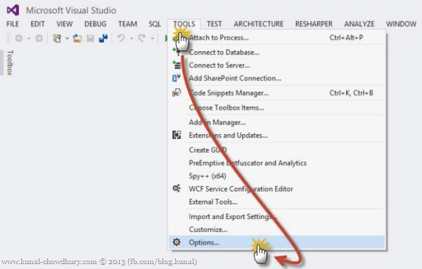 Open Visual Studio Options Dialog