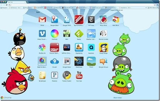 Tema de Angry Birds para Google Chrome