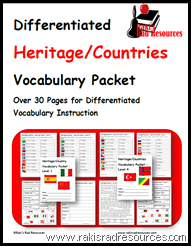 Differentiated vocabulary packet - 4 levels to teach students how to describe different countries.