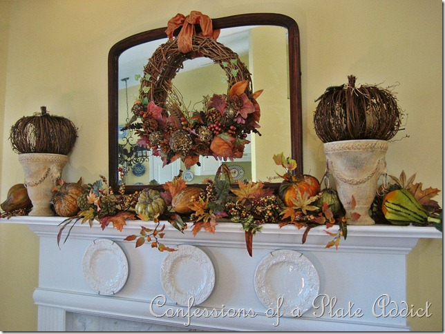 CONFESSIONS OF A PLATE ADDICT Fall Mantel with Naturals and Texture