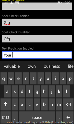 Windows Phone 8.1 - TextBox Control with Text Prediction enabled (www.kunal-chowdhury.com)